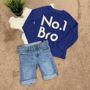 Baby Gap Boy Outffit Bermuda Jean & Top Blue Sz: 5